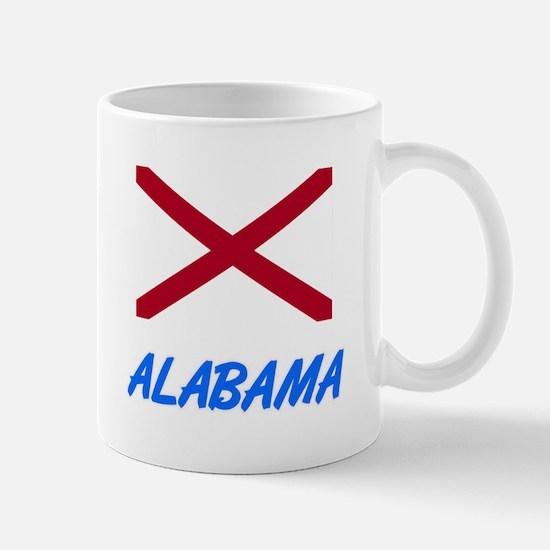 Alabama Flag Artistic Blue Design Mugs