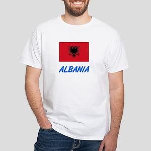 Albania Flag Artistic Blue Design T-Shirt