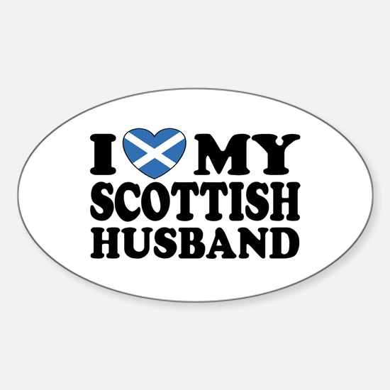 I Love My Scottish Husband Oval Decal