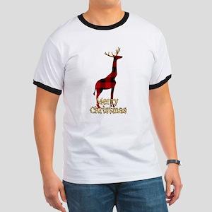Christmas Plaid Reindeer Giraffe T-Shirt