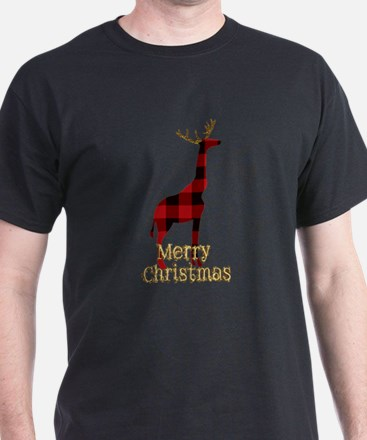 Christmas Plaid Reindeer Giraffe T-Shirt