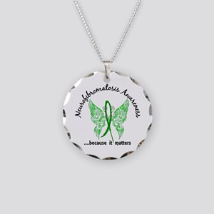Neurofibromatosis Butterfly Necklace Circle Charm