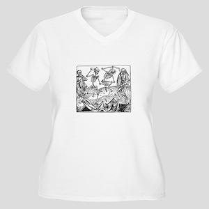 Medieval Woodcut Danse Macabre D Plus Size T-Shirt