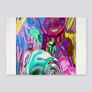 Jellyfish abstract version 1 bright 5'x7'Area Rug