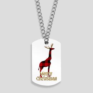 Christmas Plaid Reindeer Giraffe Dog Tags