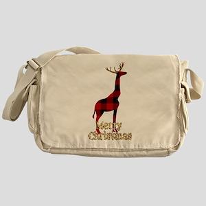 Christmas Plaid Reindeer Giraffe Messenger Bag