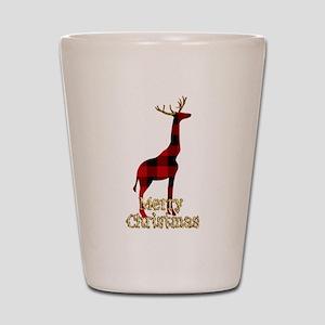 Christmas Plaid Reindeer Giraffe Shot Glass