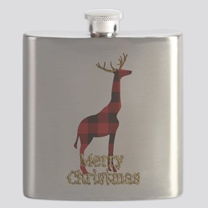 Christmas Plaid Reindeer Giraffe Flask