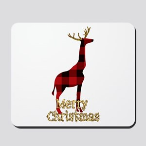 Christmas Plaid Reindeer Giraffe Mousepad