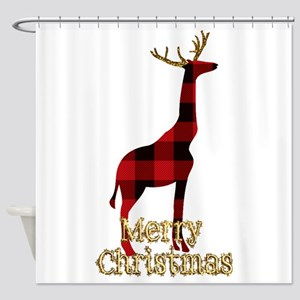 Christmas Plaid Reindeer Giraffe Shower Curtain