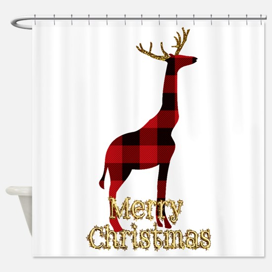 Christmas Plaid Reindeer Giraffe Shower Curtain