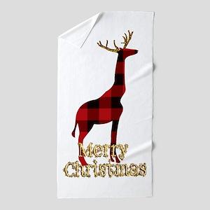 Christmas Plaid Reindeer Giraffe Beach Towel