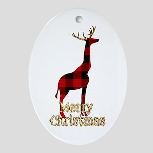 Christmas Plaid Reindeer Giraffe Oval Ornament
