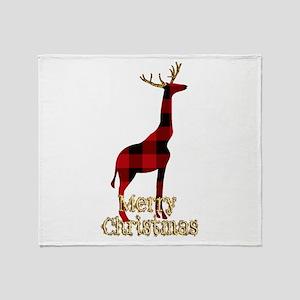 Christmas Plaid Reindeer Giraffe Throw Blanket