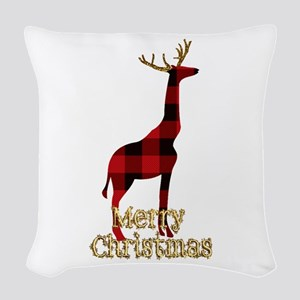 Christmas Plaid Reindeer Giraf Woven Throw Pillow