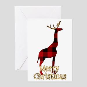 Christmas Plaid Reindeer Giraffe Greeting Cards