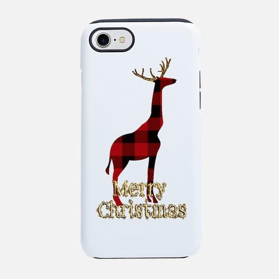 Christmas Plaid Reindeer Giraf iPhone 7 Tough Case