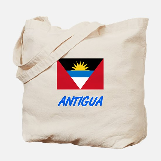 Antigua Flag Artistic Blue Design Tote Bag