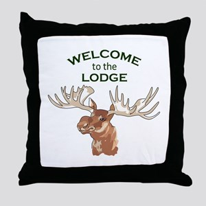 WELCOME TO THE LODGE Throw Pillow