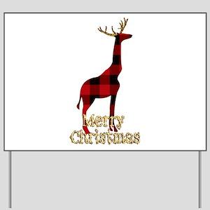 Christmas Plaid Reindeer Giraffe Yard Sign