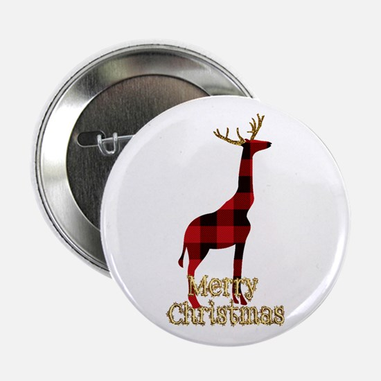 "Christmas Plaid Reindeer Giraffe 2.25"" Button"