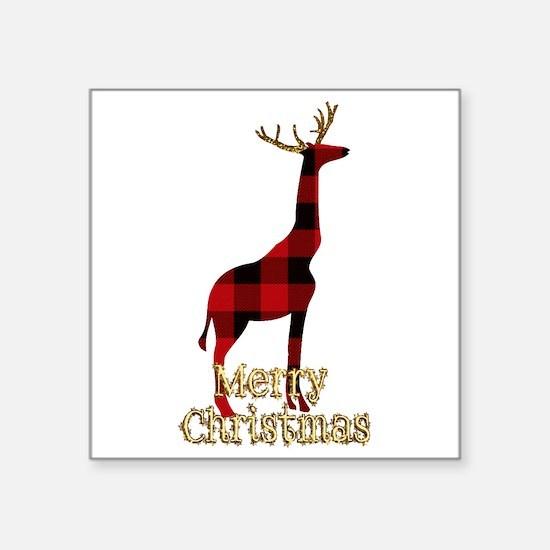 Christmas Plaid Reindeer Giraffe Sticker
