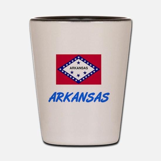 Arkansas Flag Artistic Blue Design Shot Glass