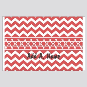Coral Chevron Personalized Name Large Poster
