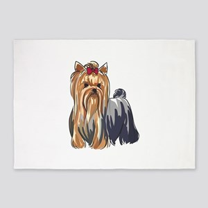 YORKSHIRE TERRIERS 5'x7'Area Rug