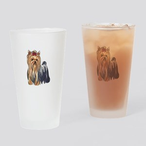 YORKSHIRE TERRIERS Drinking Glass