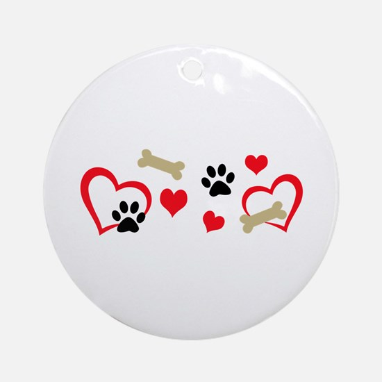 DOG THEME HORIZONTAL Ornament (Round)