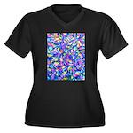 Abstact (AL) Women's Plus Size V-Neck Dark T-Shirt