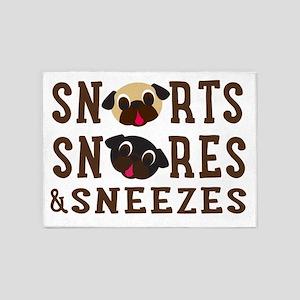 Snorts, Snores & Sneezes Brown Text 5'x7'Area Rug