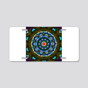 Blue Cathedral Window Aluminum License Plate