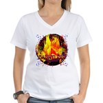 Dauntless Flaming Pixels Women's V-Neck T-Shirt