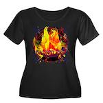 Dauntles Women's Plus Size Scoop Neck Dark T-Shirt