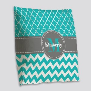 Gray and Blue Chevron Personal Burlap Throw Pillow