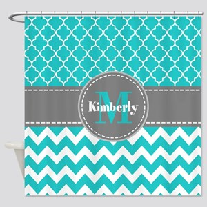 Gray And Blue Chevron Personalized Shower Curtain