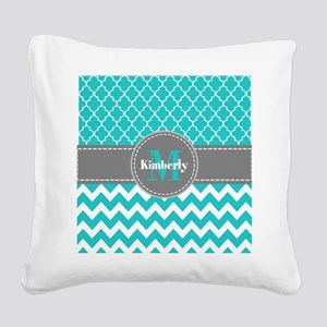 Gray and Blue Chevron Persona Square Canvas Pillow