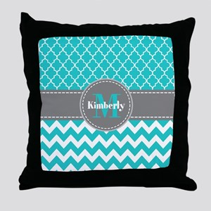 Gray and Blue Chevron Personalized Throw Pillow
