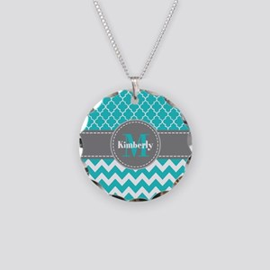 Gray and Blue Chevron Person Necklace Circle Charm