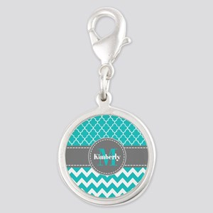 Gray and Blue Chevron Personal Silver Round Charm