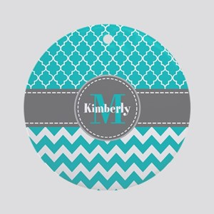Gray and Blue Chevron Personalize Ornament (Round)