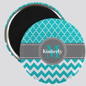 Gray and Blue Chevron Personalized Magnet