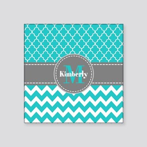 "Gray and Blue Chevron Perso Square Sticker 3"" x 3"""