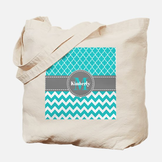 Gray and Blue Chevron Personalized Tote Bag