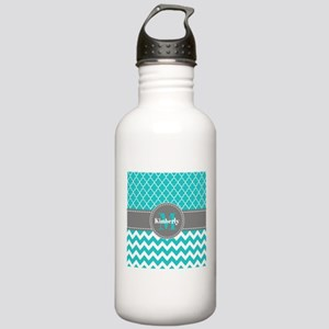 Gray and Blue Chevron Stainless Water Bottle 1.0L