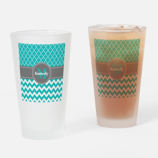 Gray and Blue Chevron Personalized Drinking Glass