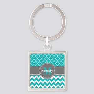 Gray and Blue Chevron Personalized Square Keychain