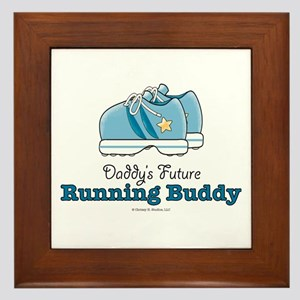 Daddy's Running Buddy Shoes Framed Tile
